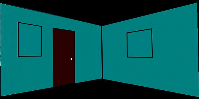 Náčrt miestnosti, interiér, architektúra, modré steny, dvere